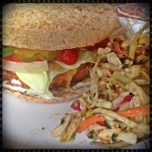 Spicy Turkey Burger & Mexican Slaw