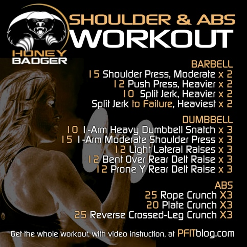 honey badger shoulder & abs workout